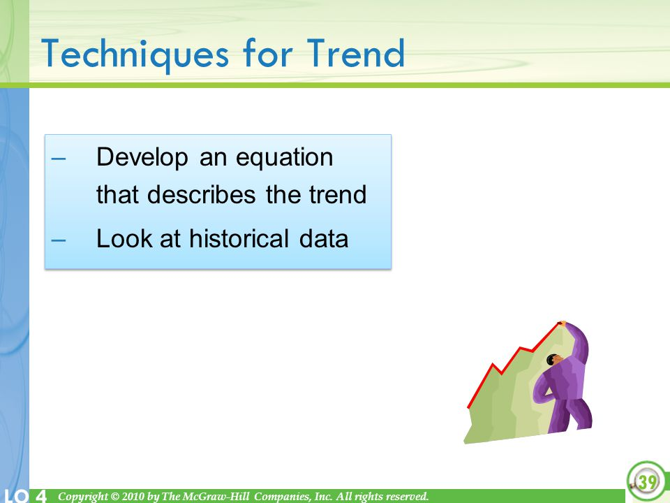Techniques for Trend Develop an equation that describes the trend