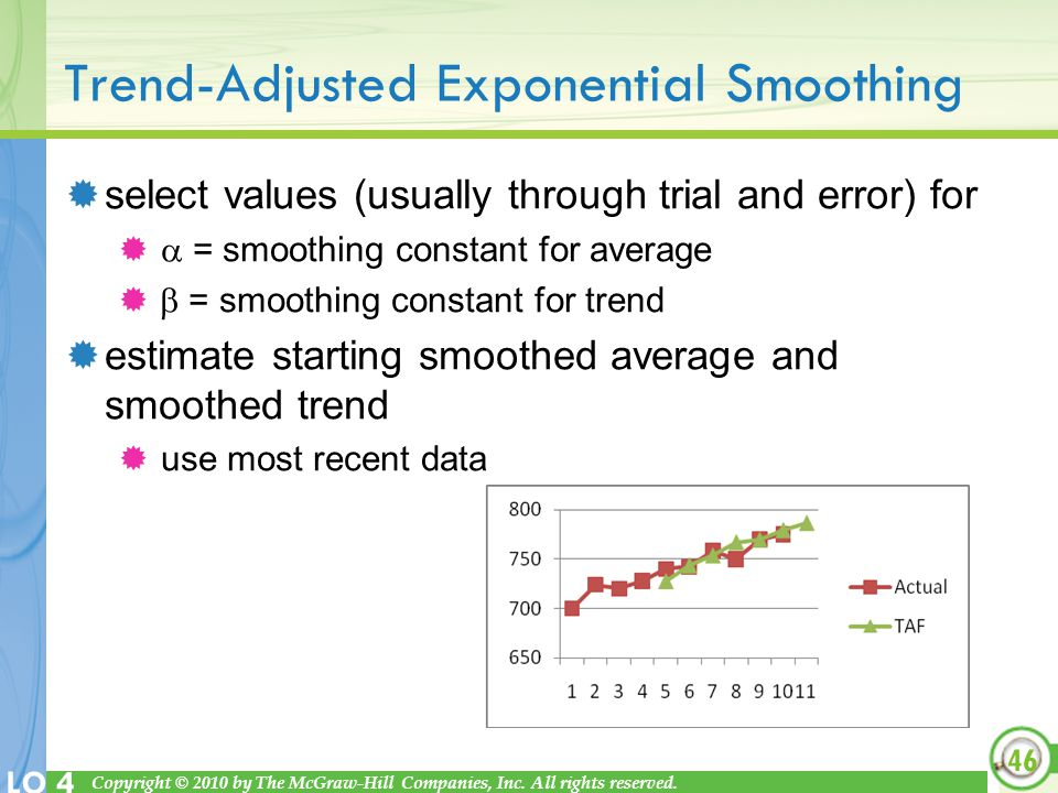 Trend-Adjusted Exponential Smoothing