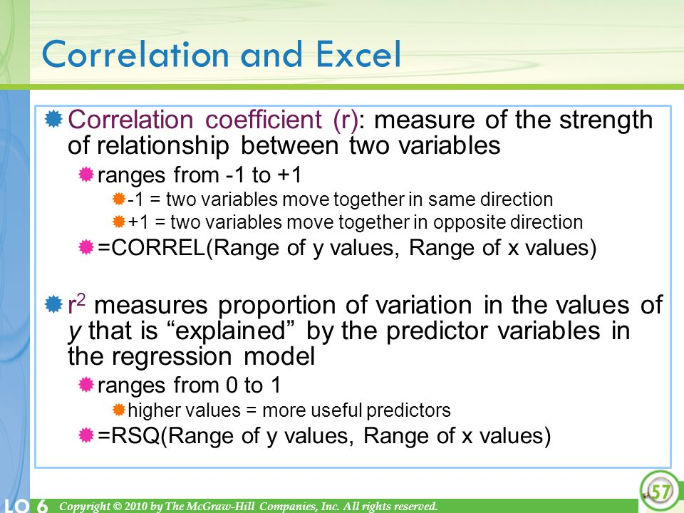 Correlation and Excel Correlation coefficient (r): measure of the strength of relationship between two variables.