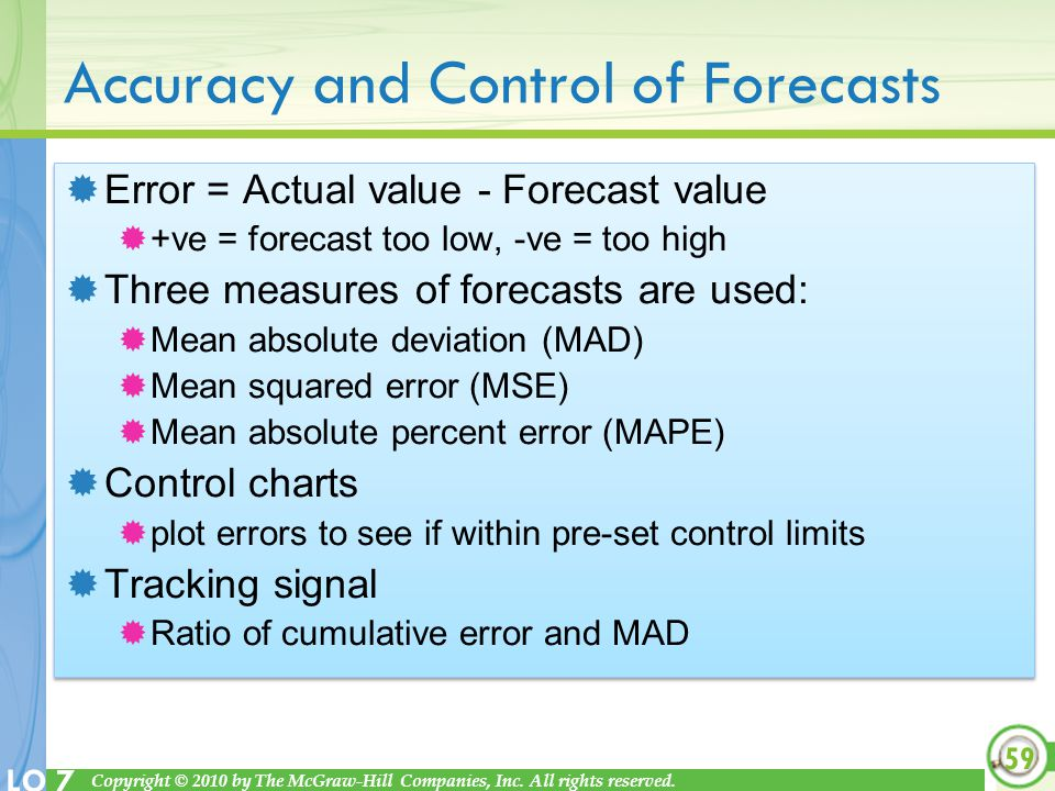 Accuracy and Control of Forecasts