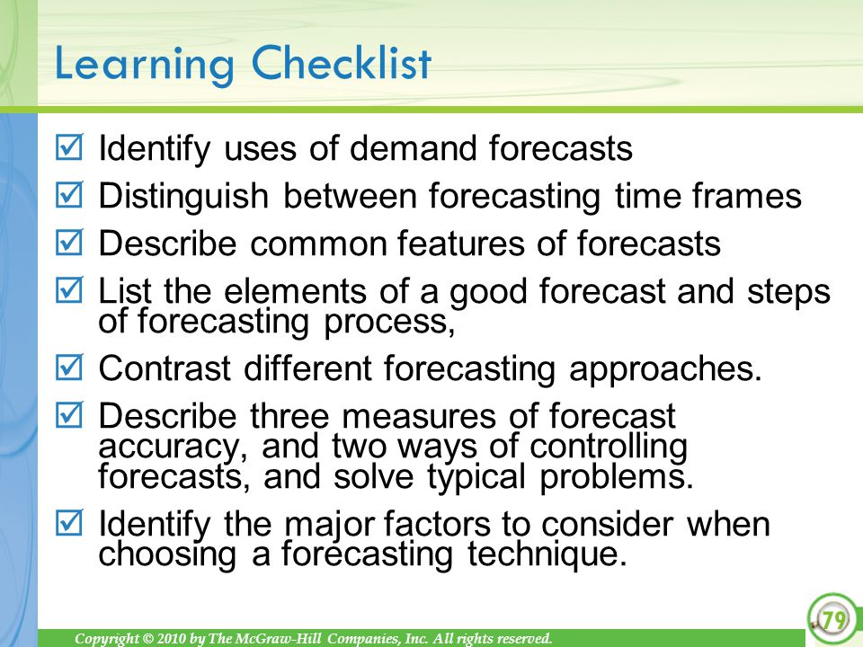 Identify uses of demand forecasts