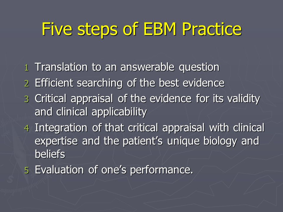 Five steps of EBM Practice