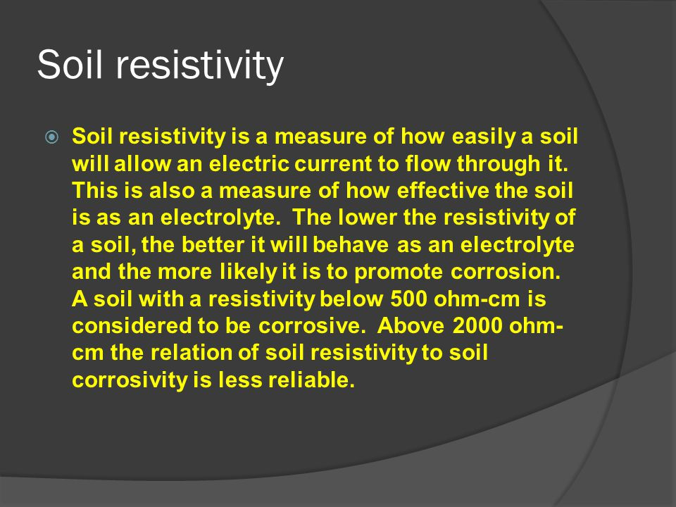 Soil resistivity