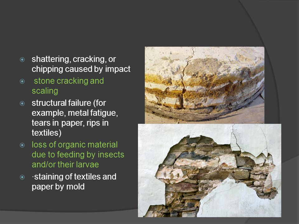 shattering, cracking, or chipping caused by impact