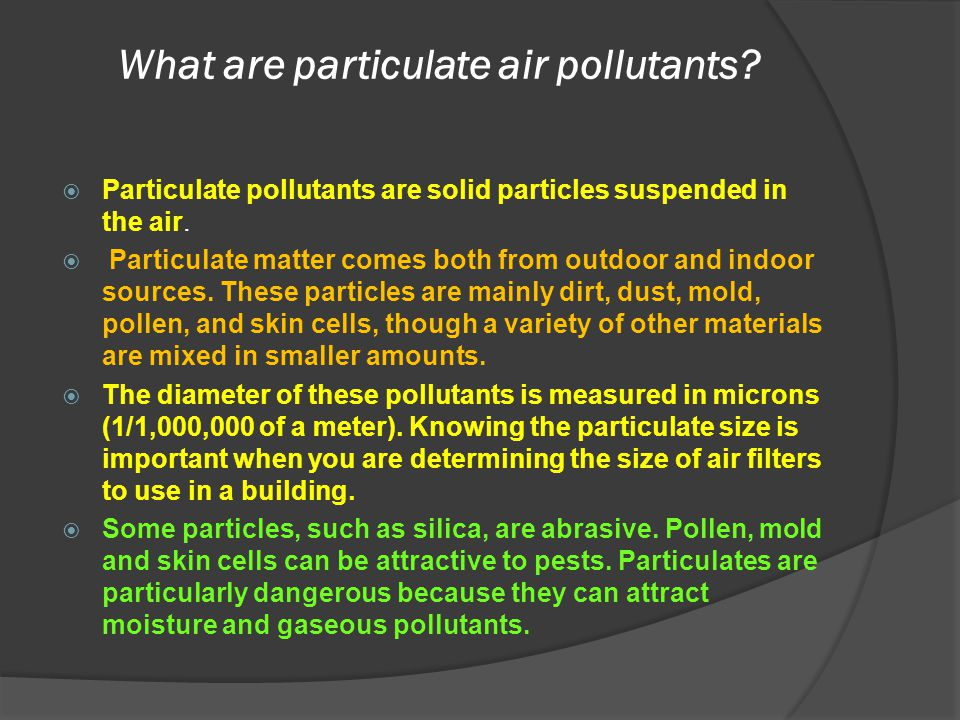 What are particulate air pollutants