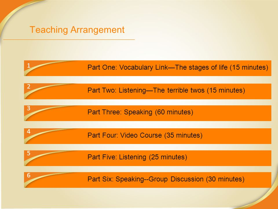 Teaching Arrangement 1. Part One: Vocabulary Link—The stages of life (15 minutes) 2. Part Two: Listening—The terrible twos (15 minutes)