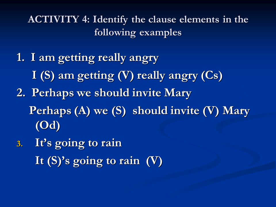 ACTIVITY 4: Identify the clause elements in the following examples
