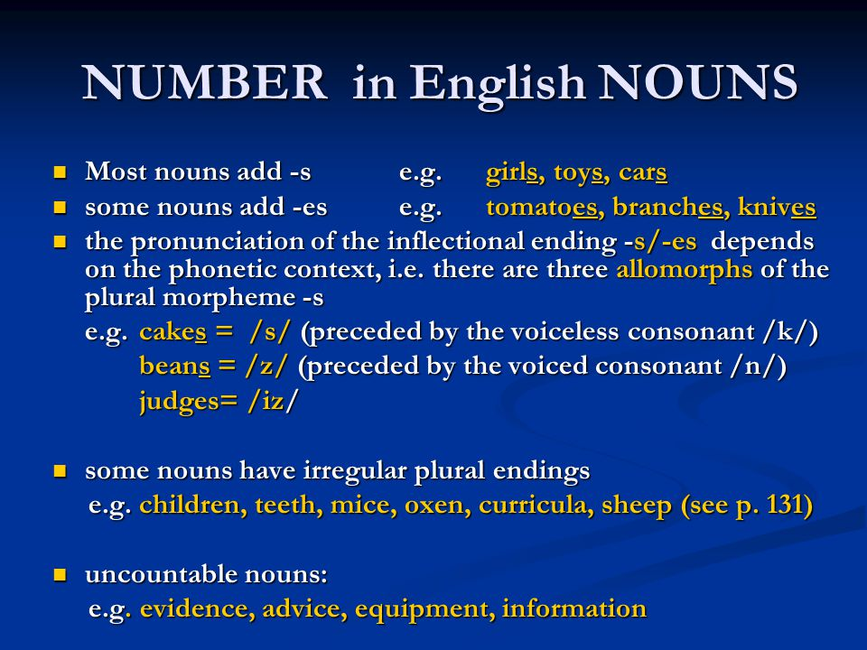 NUMBER in English NOUNS
