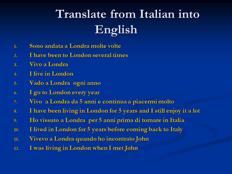 Translations Into Italian: Translation From Italian To English