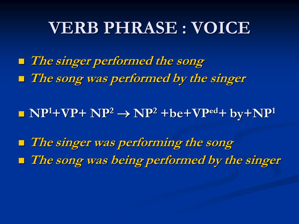 VERB PHRASE : VOICE The singer performed the song