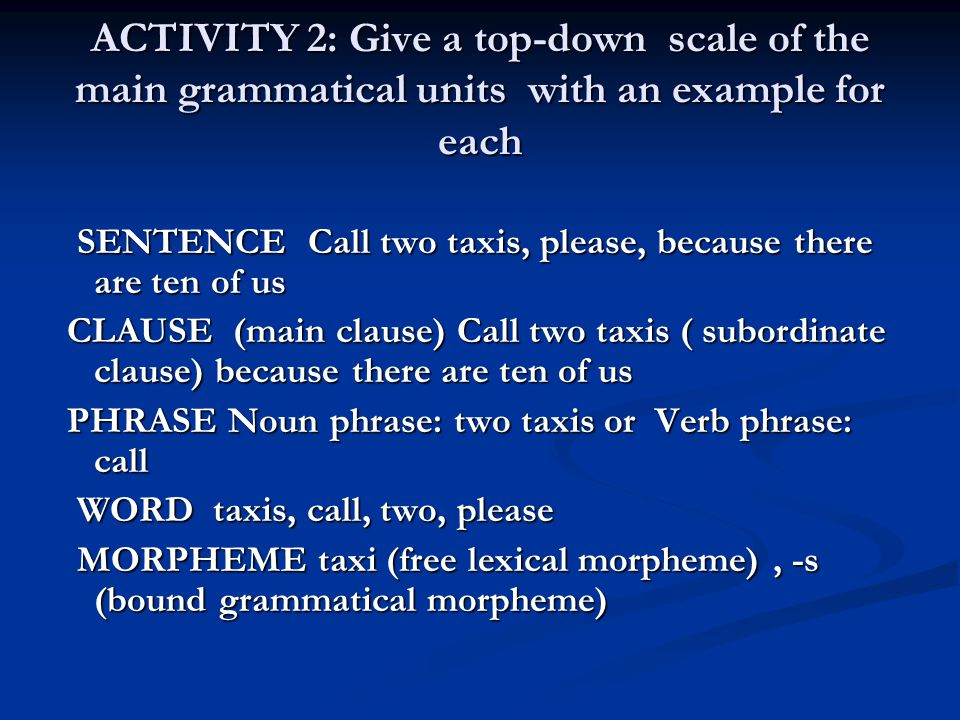 ACTIVITY 2: Give a top-down scale of the main grammatical units with an example for each