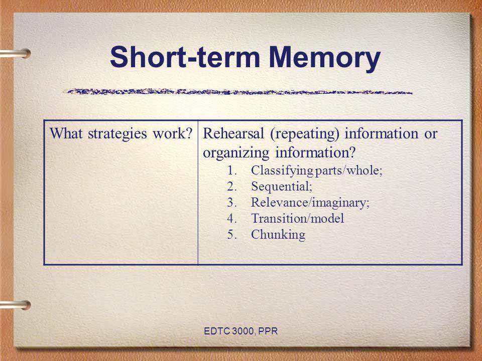 Short-term Memory What strategies work