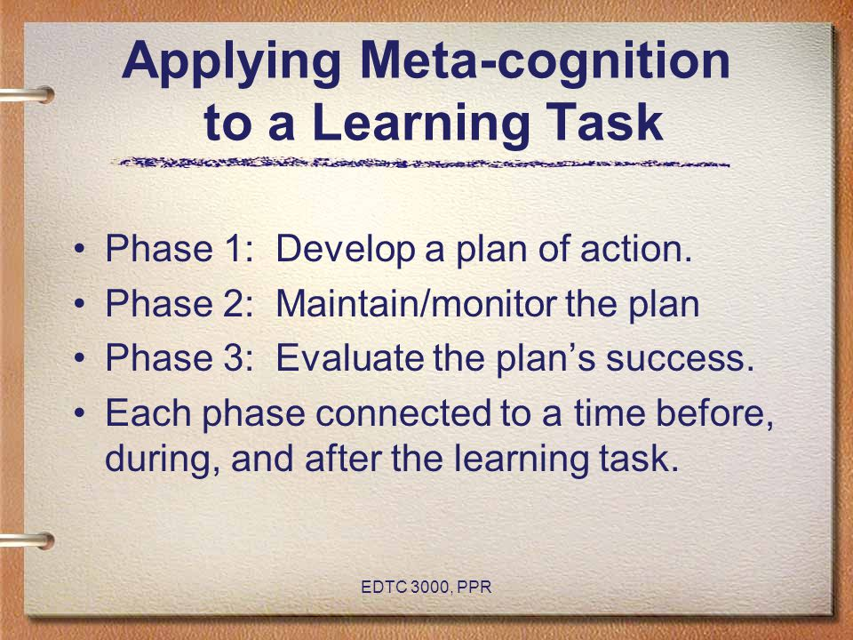 Applying Meta-cognition to a Learning Task
