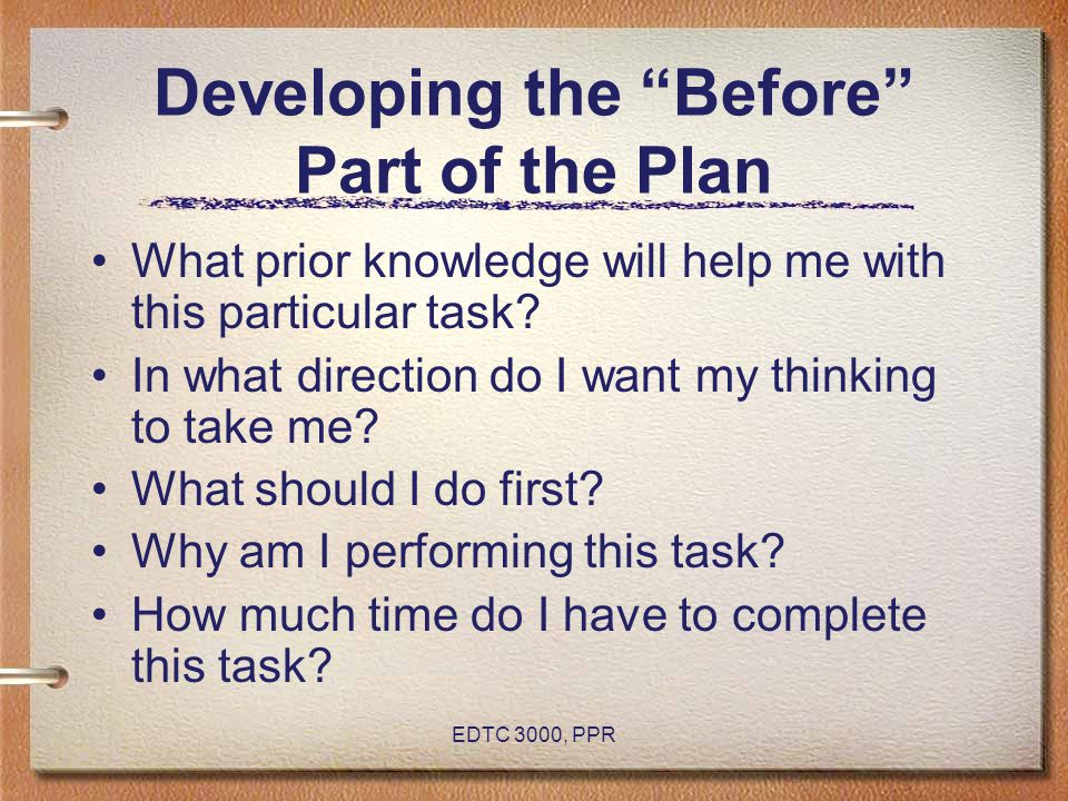 Developing the Before Part of the Plan