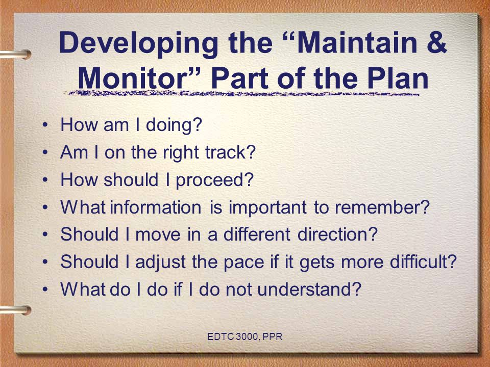 Developing the Maintain & Monitor Part of the Plan