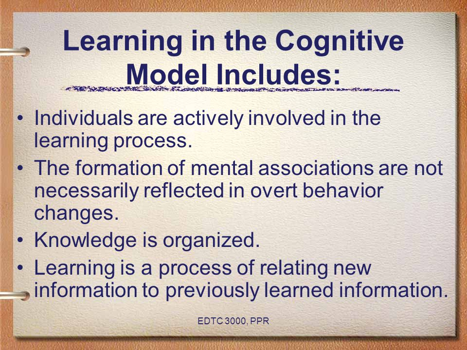 Learning in the Cognitive Model Includes: