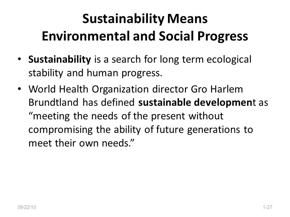 Sustainability Means Environmental and Social Progress