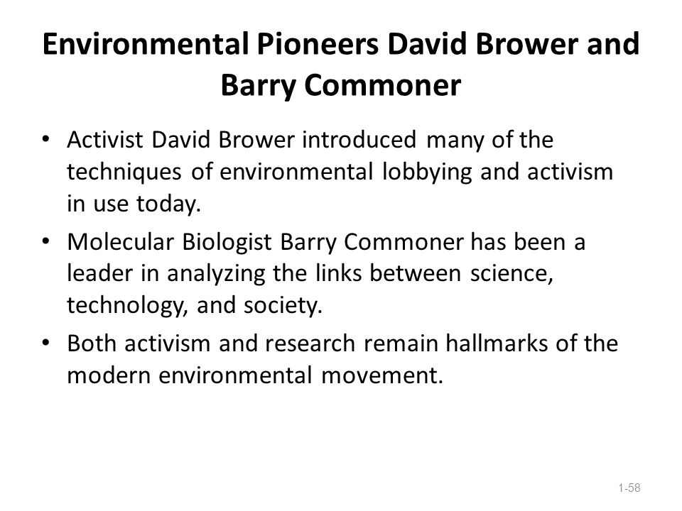Environmental Pioneers David Brower and Barry Commoner
