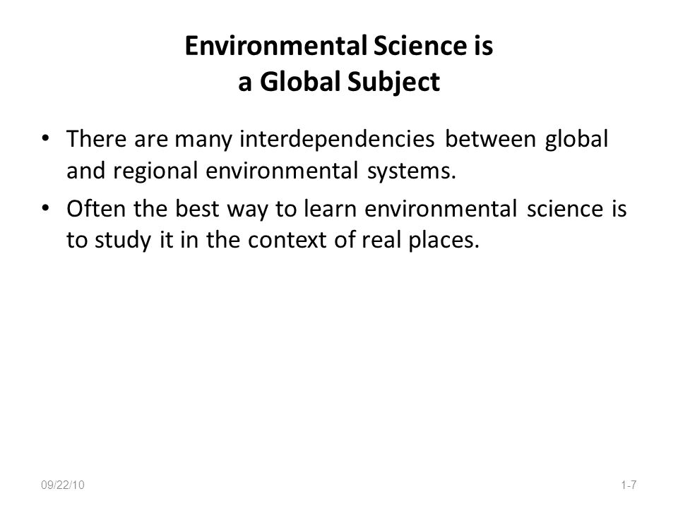 Environmental Science is a Global Subject