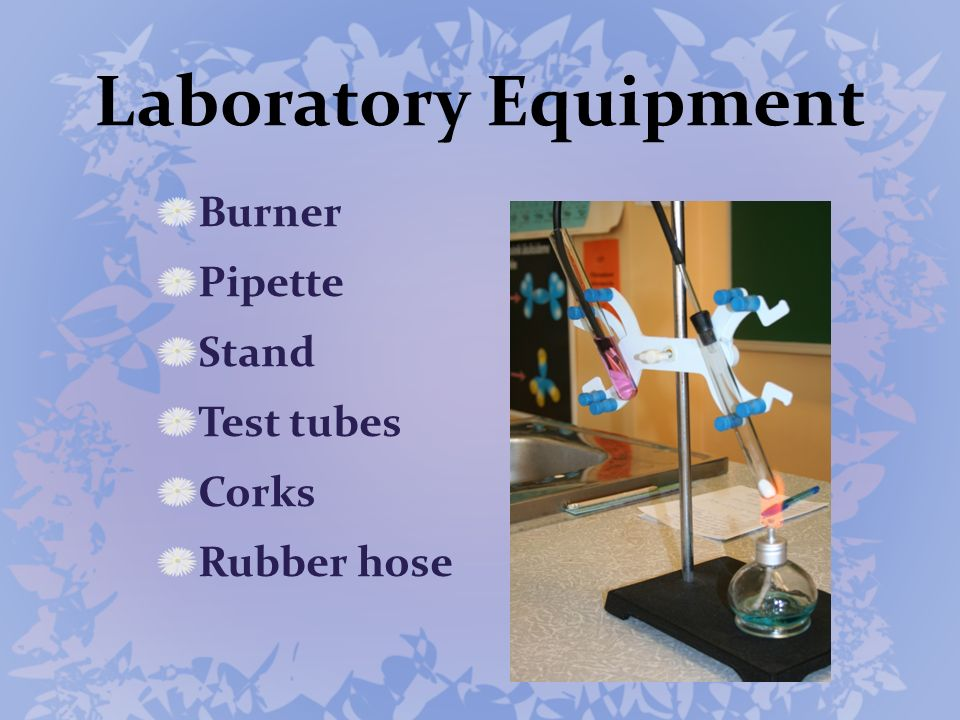 Laboratory Equipment Burner Pipette Stand Test tubes Corks Rubber hose