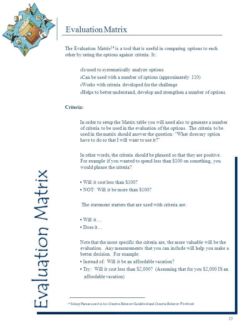 Evaluation Matrix Evaluation Matrix