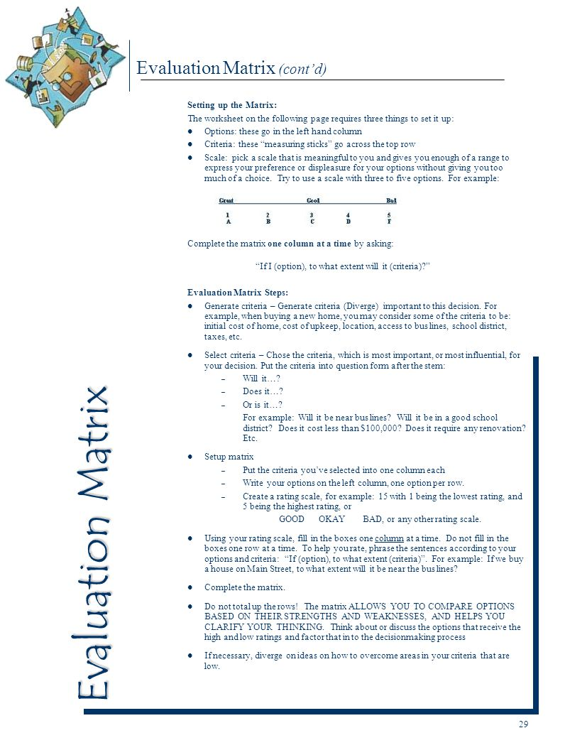 Evaluation Matrix (cont'd)
