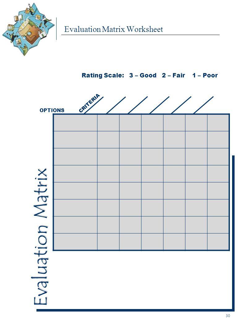Evaluation Matrix Worksheet