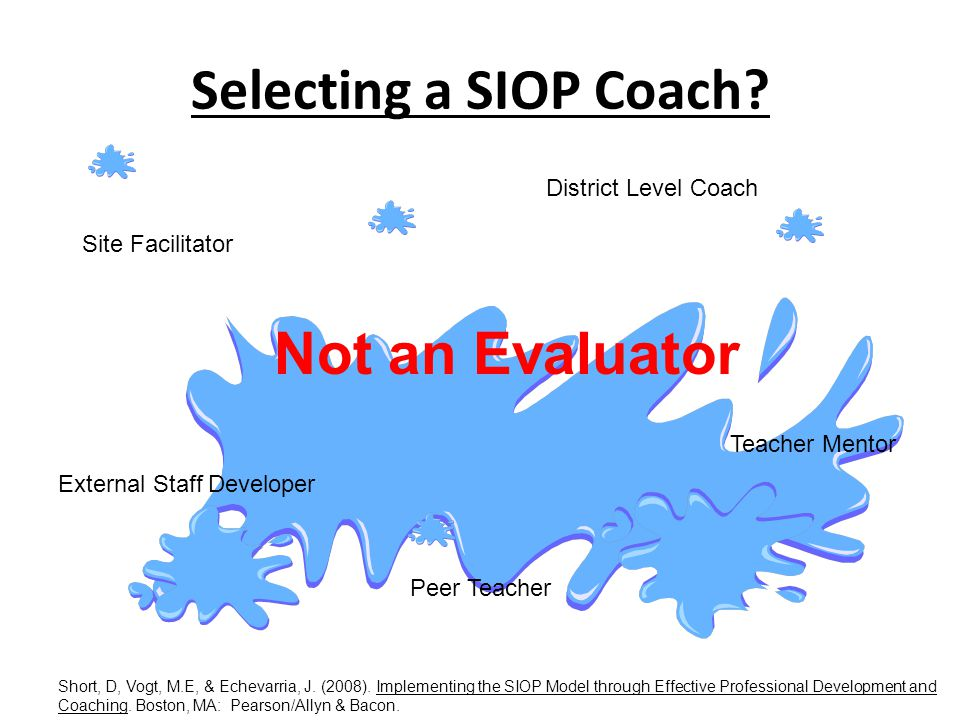 Selecting a SIOP Coach Not an Evaluator District Level Coach