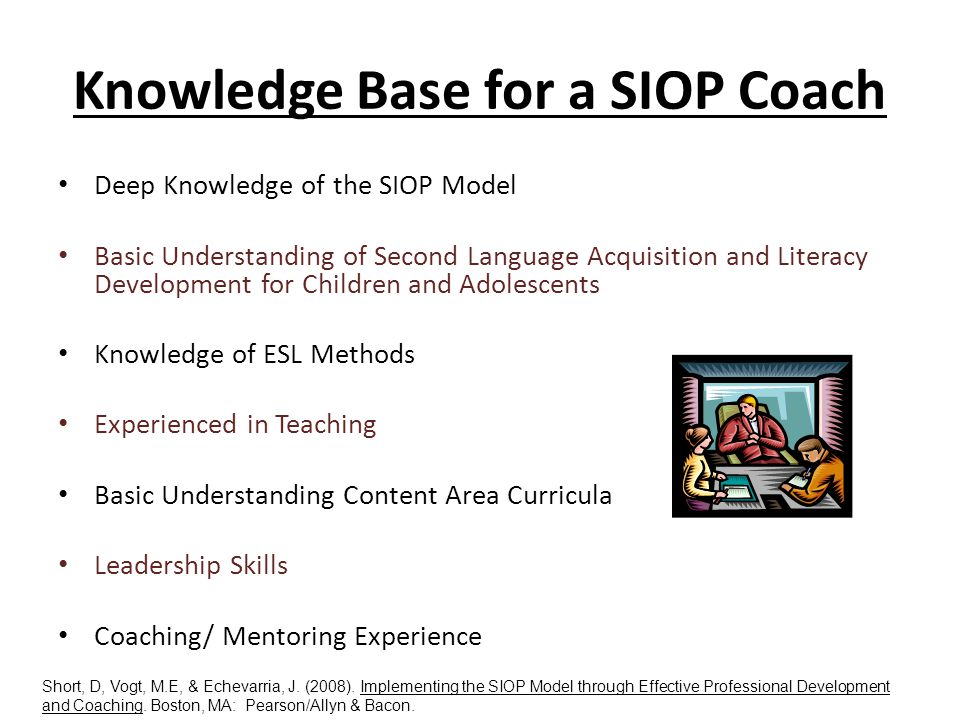 Knowledge Base for a SIOP Coach