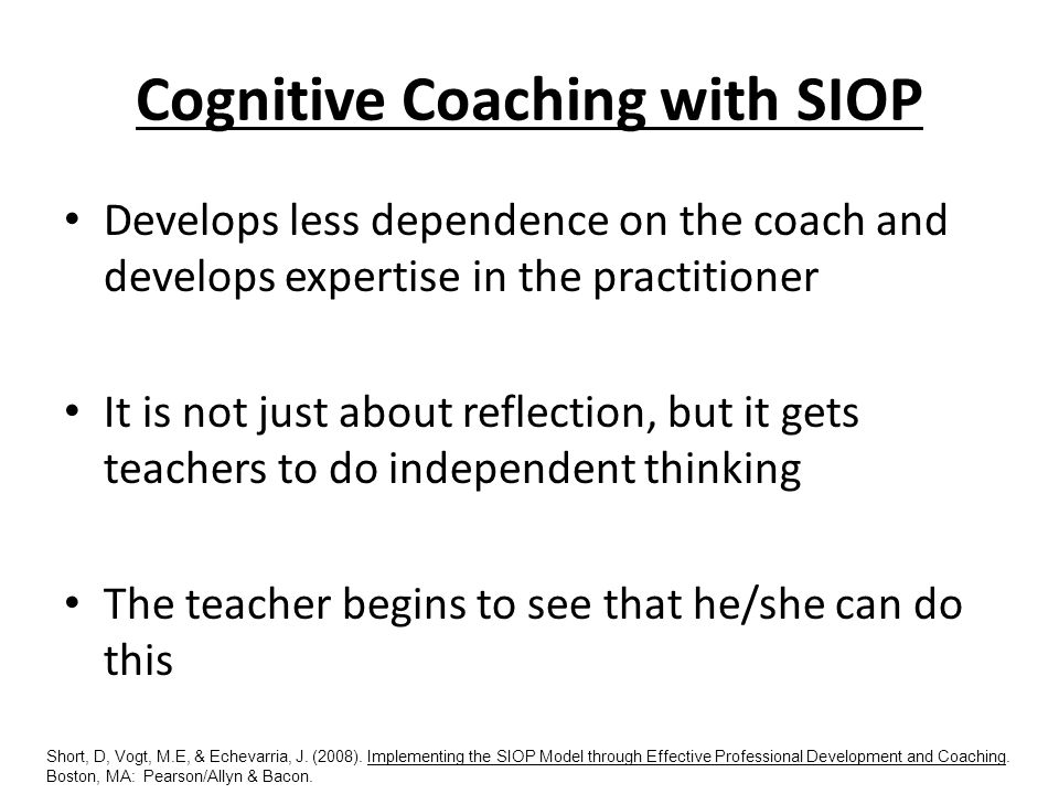 Cognitive Coaching with SIOP