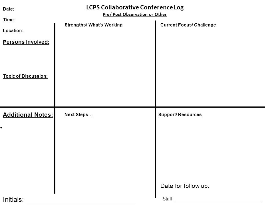 LCPS Collaborative Conference Log Pre/ Post Observation or Other