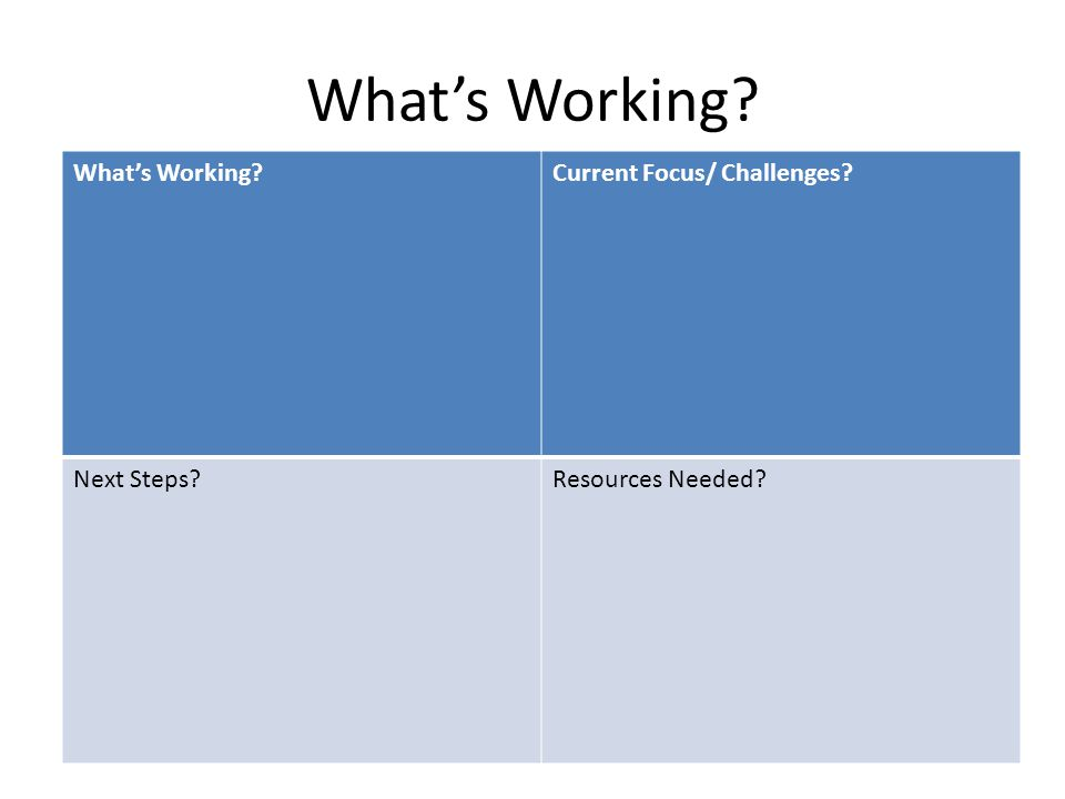 What's Working What's Working Current Focus/ Challenges Next Steps