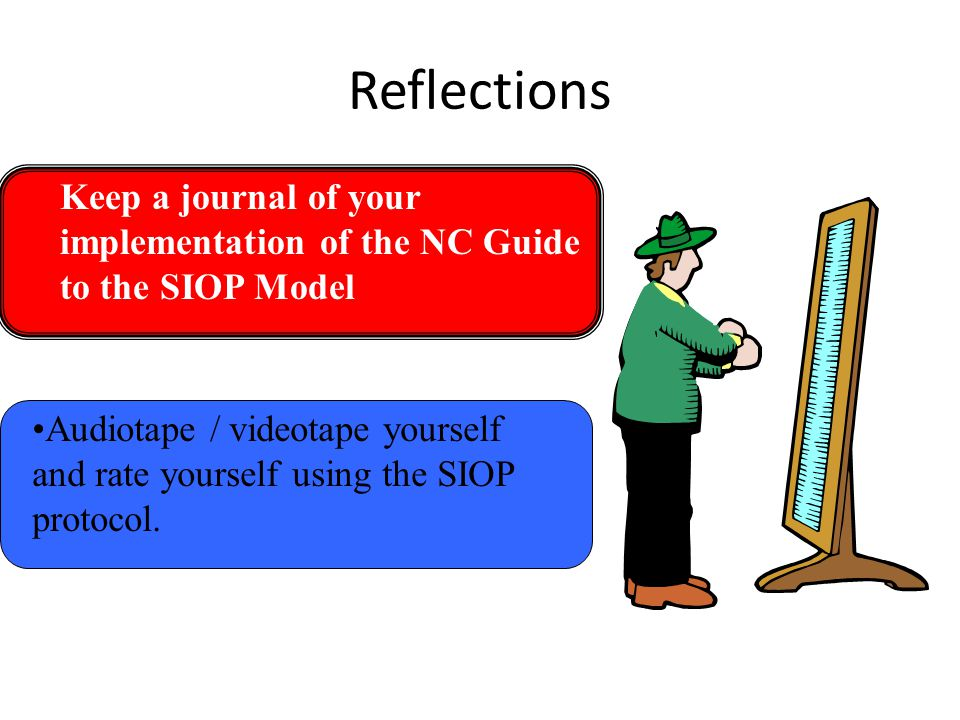Reflections Keep a journal of your implementation of the NC Guide to the SIOP Model.