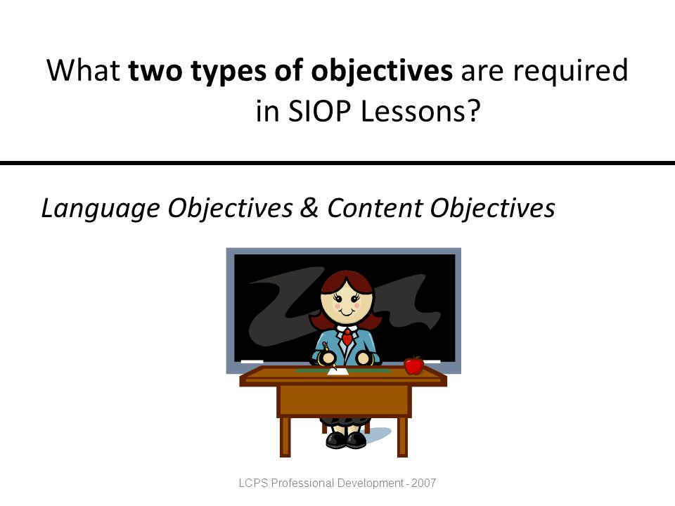 What two types of objectives are required in SIOP Lessons