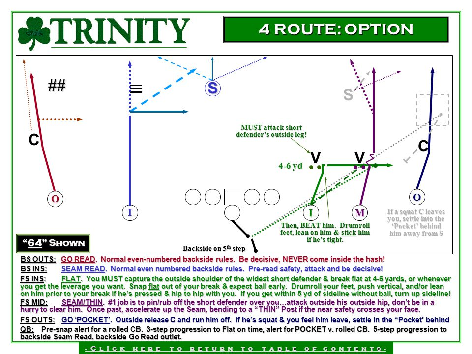 ## 4 ROUTE: OPTION C S S C V V O O I I M 4-6 yd 64 Shown