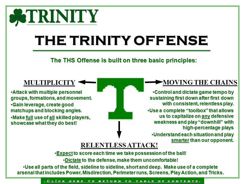 THE TRINITY OFFENSE MULTIPLICITY MOVING THE CHAINS RELENTLESS ATTACK!