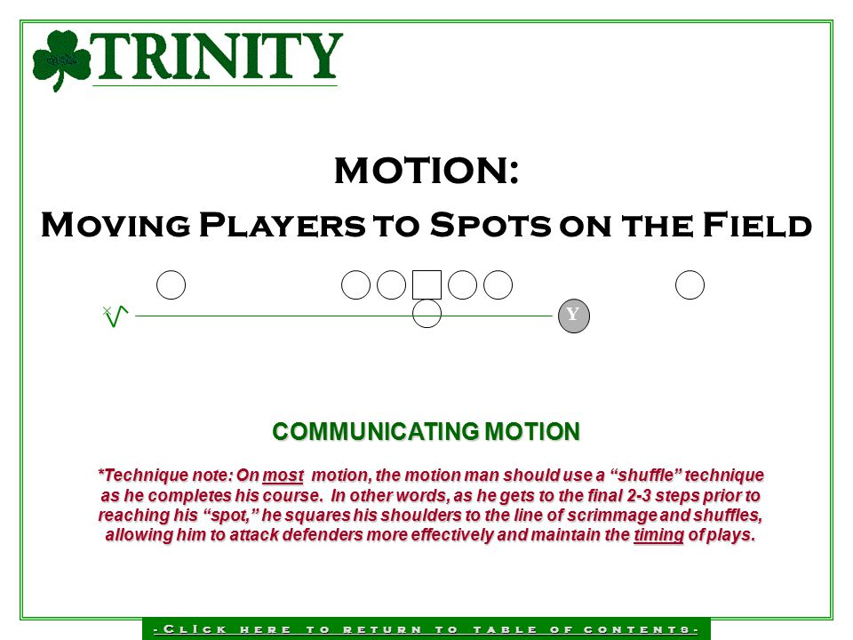 Moving Players to Spots on the Field
