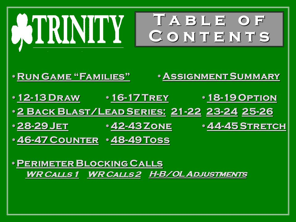 T a b l e o f C o n t e n t s Run Game Families Assignment Summary