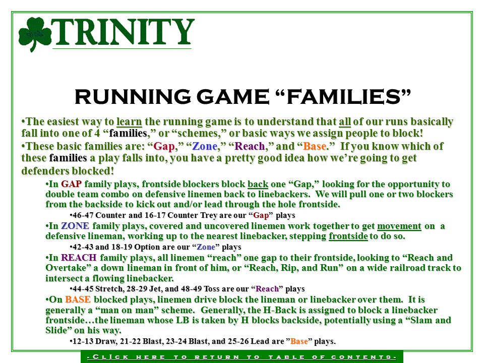RUNNING GAME FAMILIES