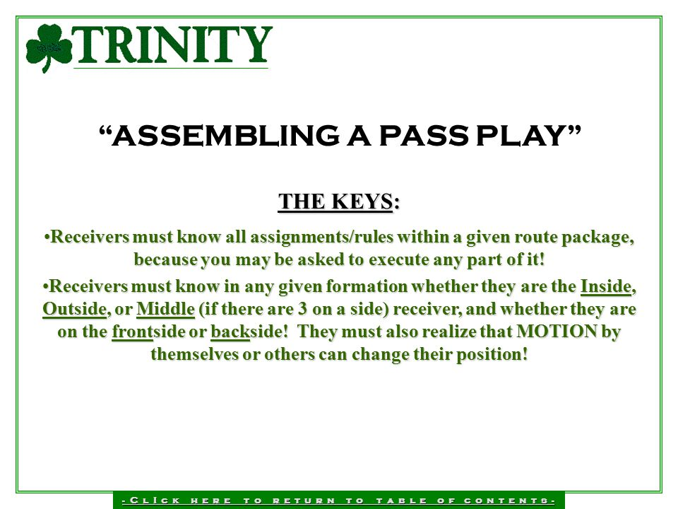 ASSEMBLING A PASS PLAY
