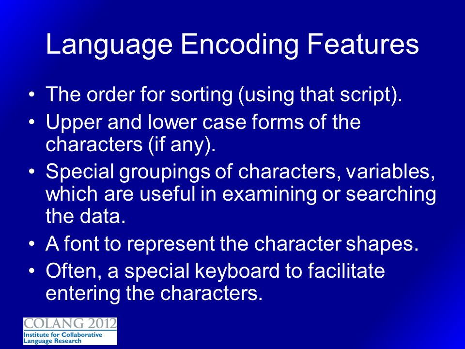 Language Encoding Features