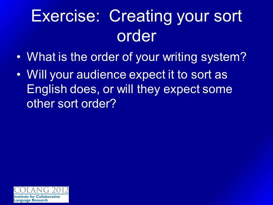 Exercise: Creating your sort order