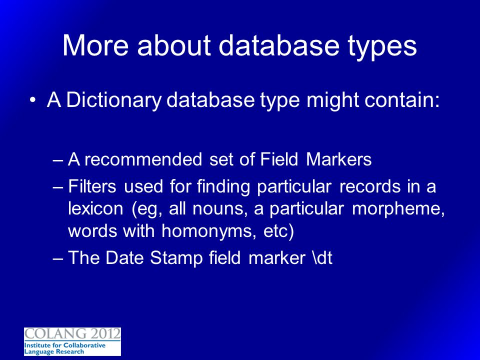 More about database types