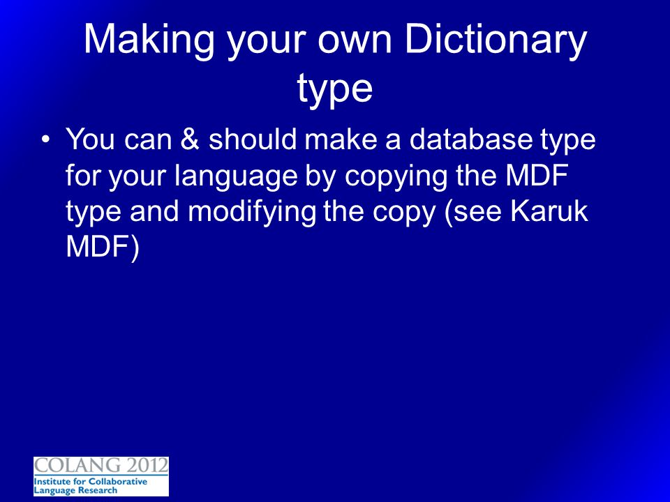 Making your own Dictionary type