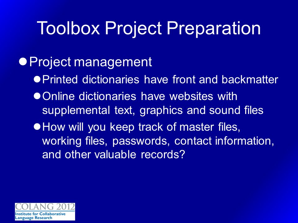 Toolbox Project Preparation