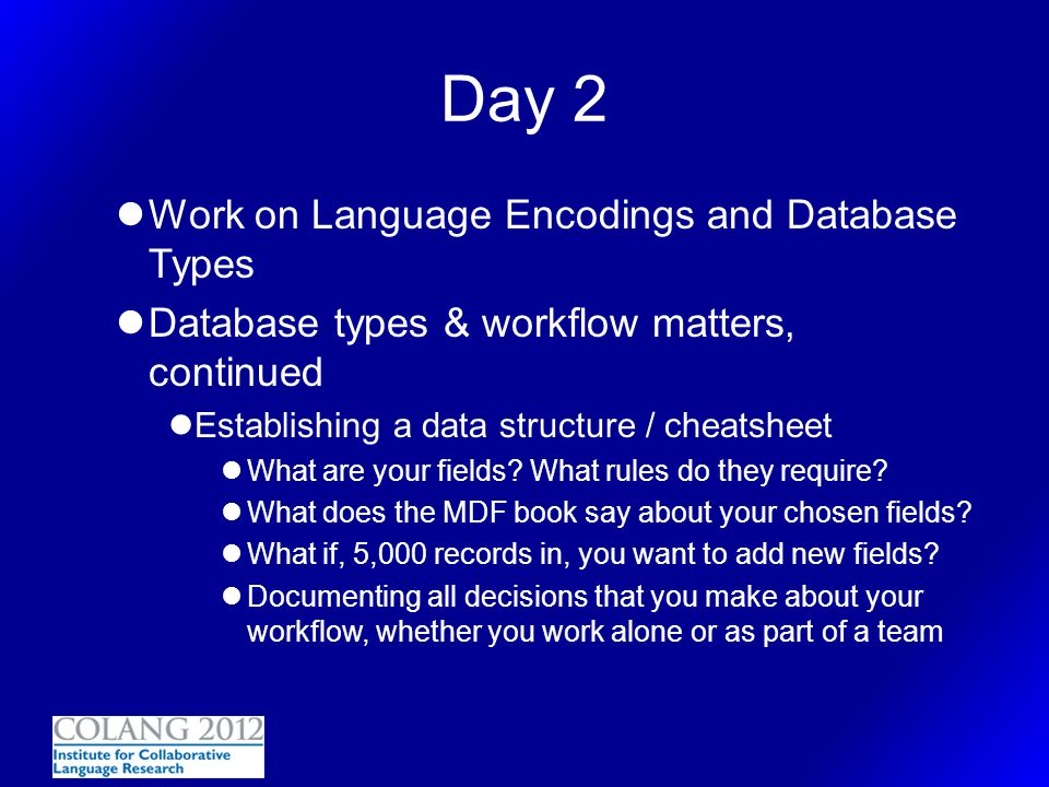 Day 2 Work on Language Encodings and Database Types