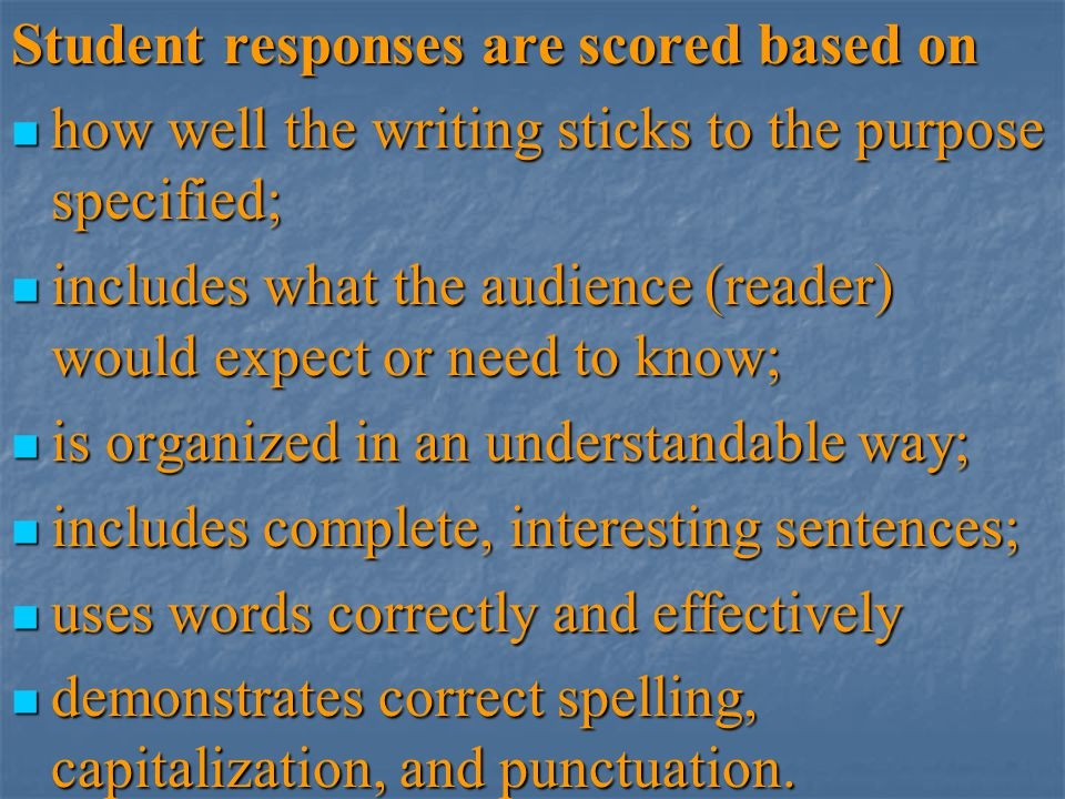 Student responses are scored based on