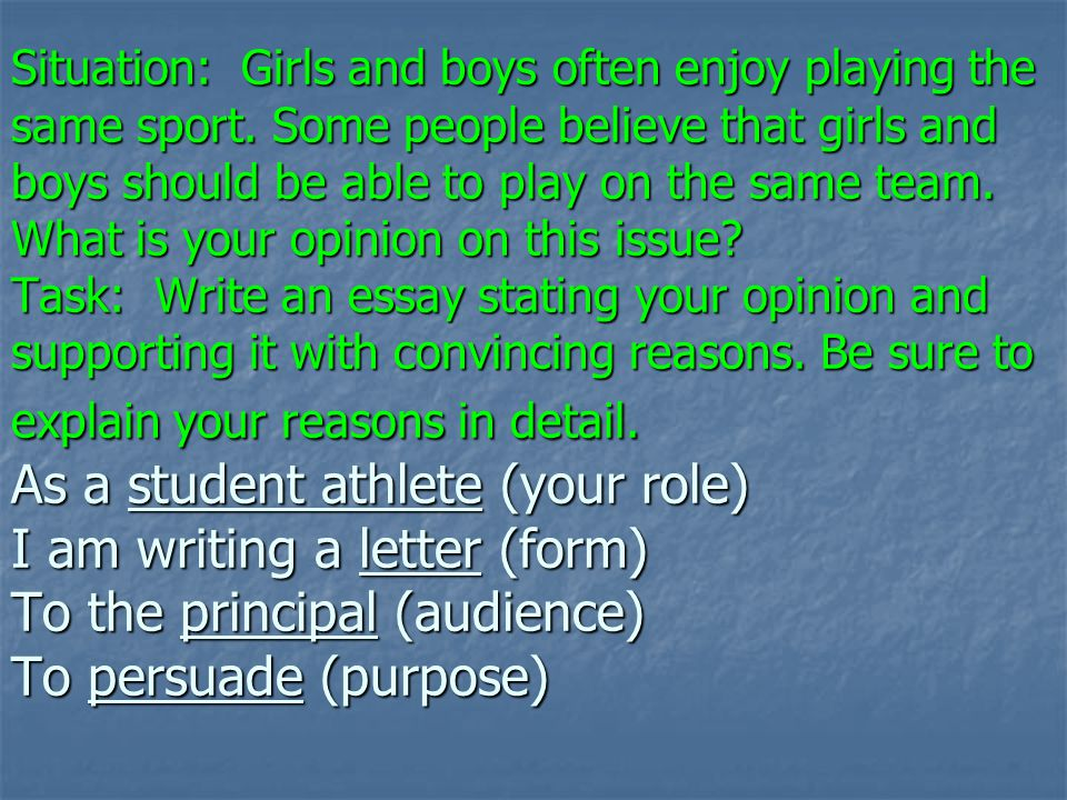 Situation: Girls and boys often enjoy playing the same sport
