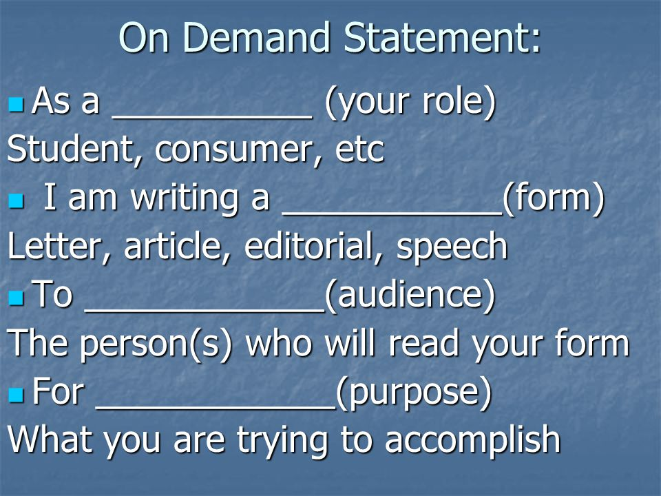 On Demand Statement: As a __________ (your role)