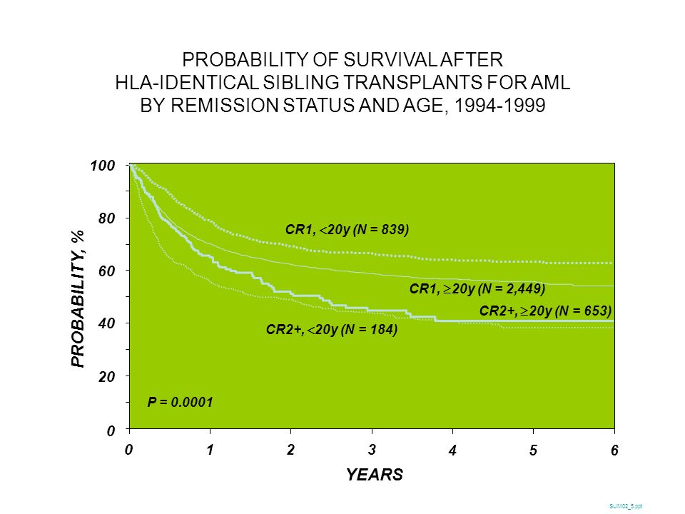 PROBABILITY OF SURVIVAL AFTER HLA-IDENTICAL SIBLING TRANSPLANTS FOR AML BY REMISSION STATUS AND AGE, 1994-1999